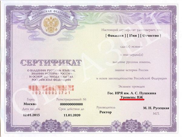 сертификат на ВНЖ