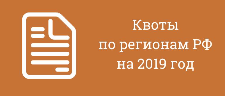 квоты на рвп по регионам на 2019 год